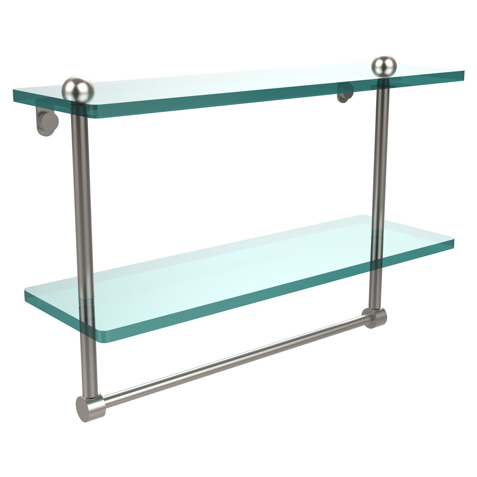 Allied Brass WS-2TB//22-SBR Washington Square Collection 22 Inch Two Tiered Glass Shelf with Integrated Towel Bar Satin Brass