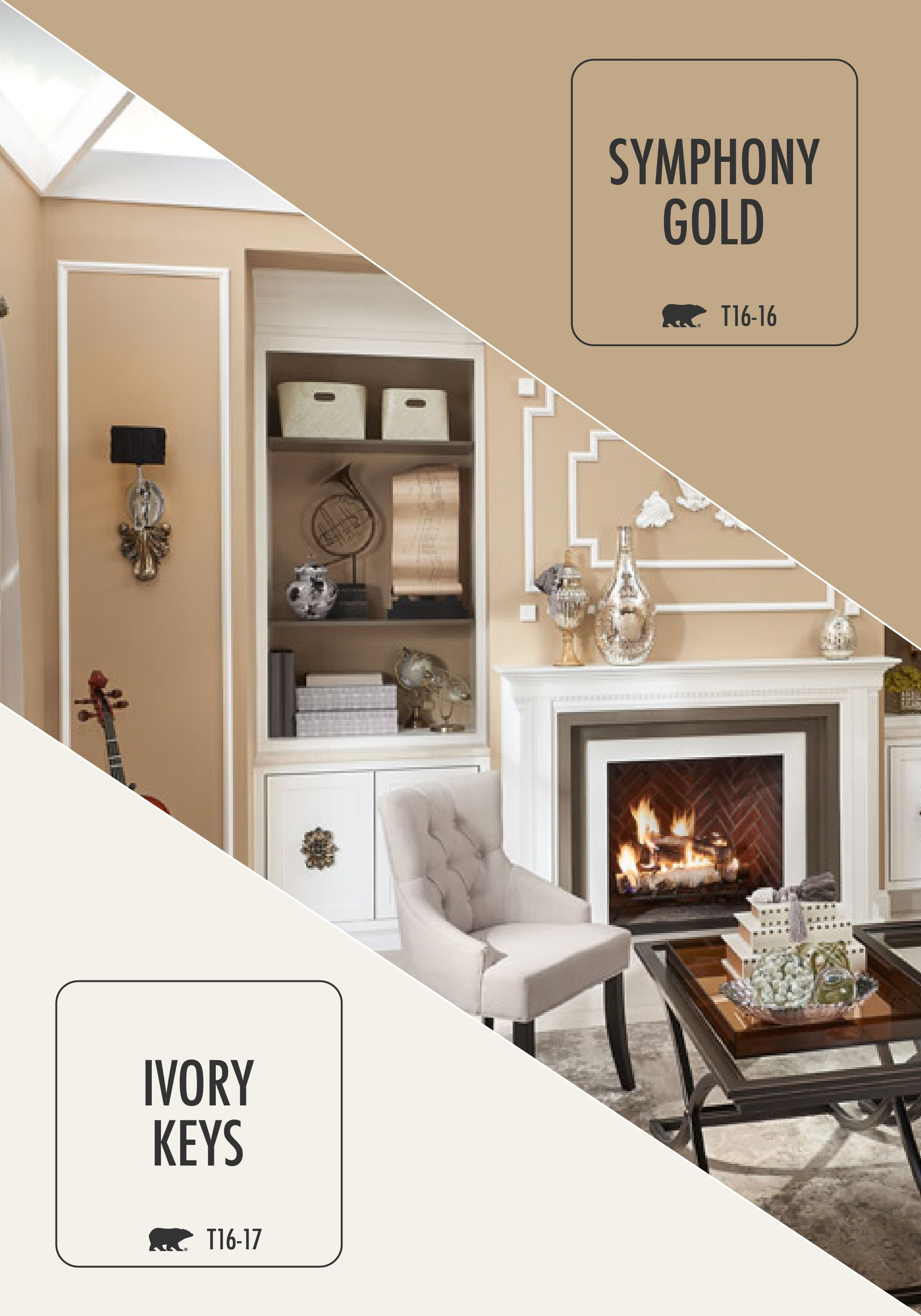 The subtle combination of symphony gold on the walls and - Trending paint colors for living rooms 2016 ...