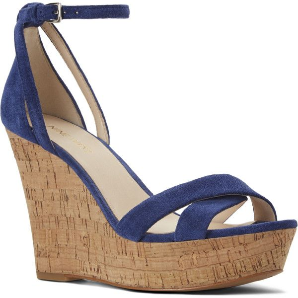 Nine West Joker Open Toe Wedge Sandals ($70) ❤ liked on Polyvore featuring  shoes