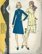 An original ca. 1971 McCall's Pattern 2952.  Misses' Dress or Tunic and Pants. Dress or tunic, with front and back yokes, has back zipper, collar of stitch trim and pockets. Pants are back zippered.