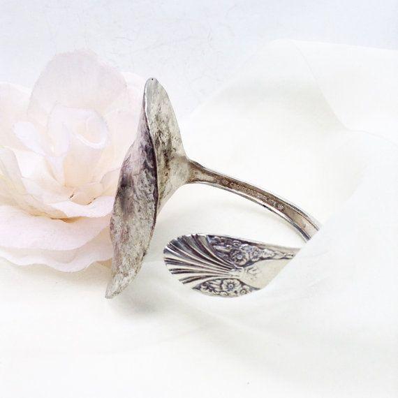 Antique Silver Cuff Bracelet  Hammered Silver Bracelet
