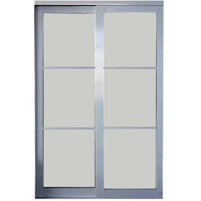 Contractors Wardrobe 72 In X 81 In Silhouette 5 Lite Satin Clear Aluminum Frame Mystique Glass Interior Sliding Door Si5 7281sc2r The Home Depot Sliding Doors Interior Contractors Wardrobe Sliding Doors