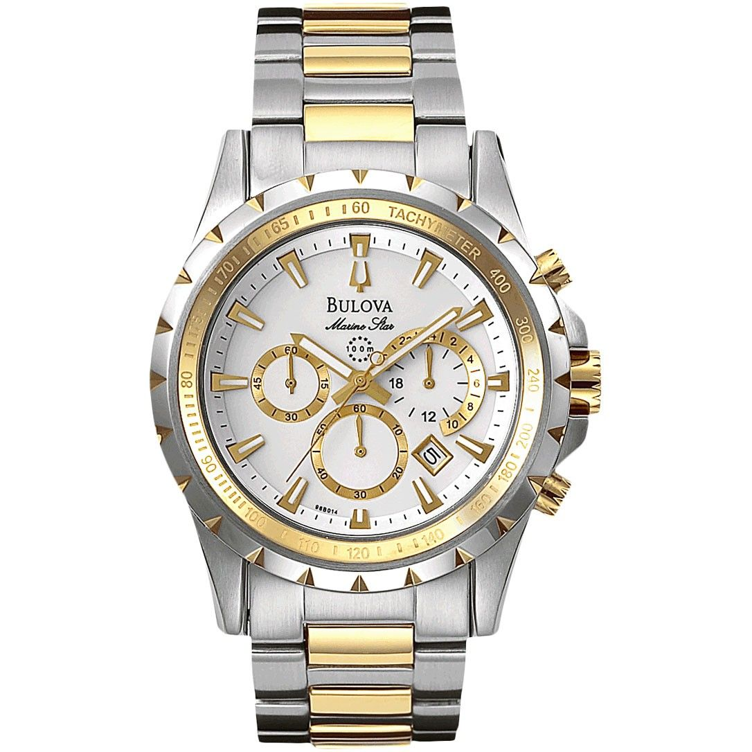4760 Bulova Marine Star Two tone gold and white chronograph with calendar feature. $399.00
