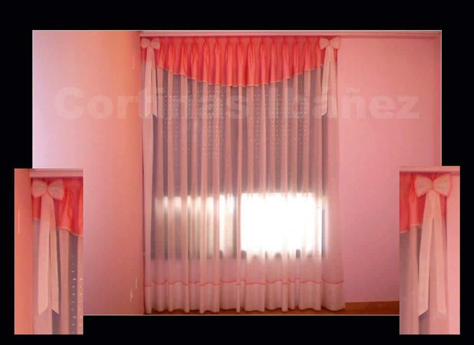 Cortina tradicional de visillo y volante con forma y - Formas de cortinas ...