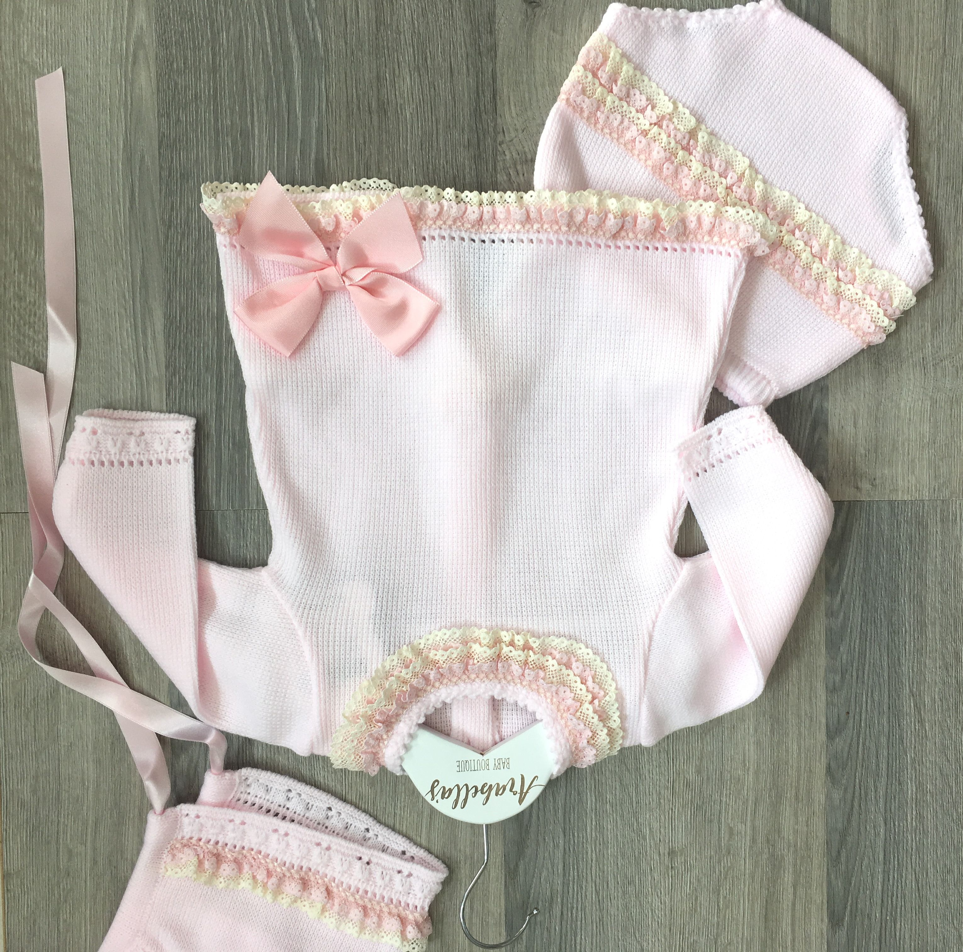 Cha o baby 3 piece knitted jam pant set with bonnet spanish baby