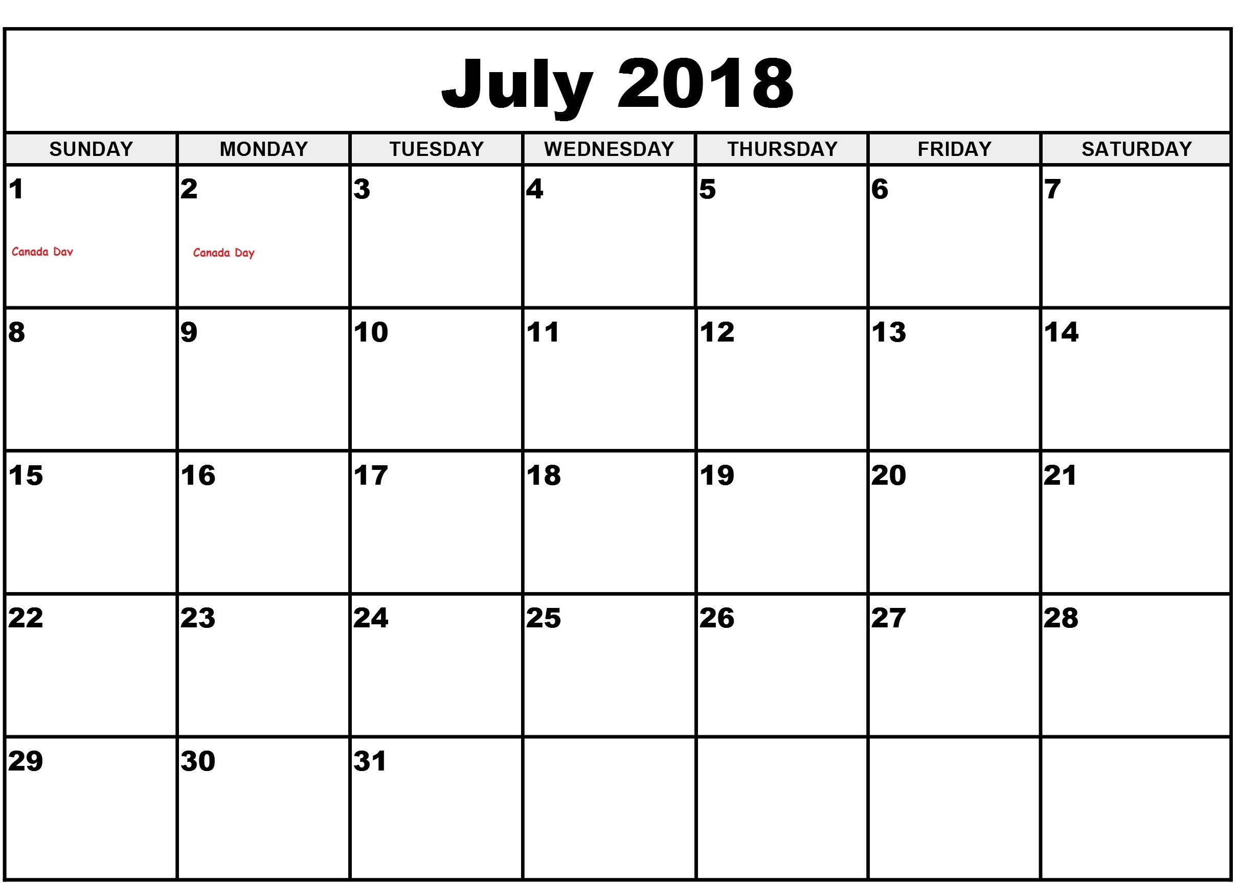 July 2018 Calendar With Time Slots Template Calendar