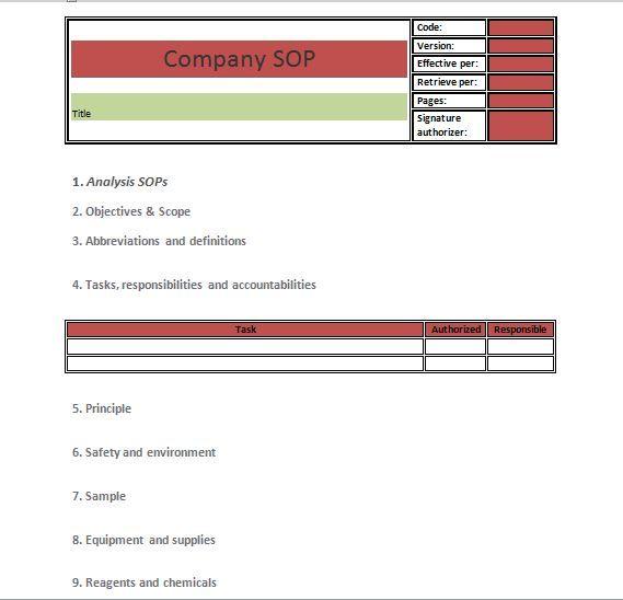 SOP Templates 27 fen Pinterest Standard operating procedure