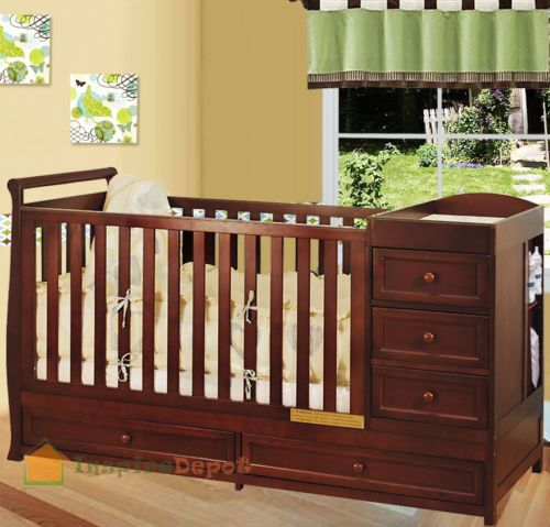 Multi-Function Cherry Solid Wooden Baby Crib Combo Dresser Changing ...