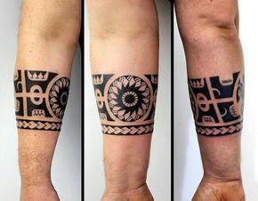Armband Mens Hawaiian Tribal Forearm Tattoo Ideas