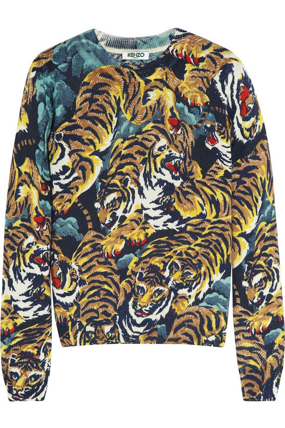 kenzo tiger jungle print wool sweater net a porter com
