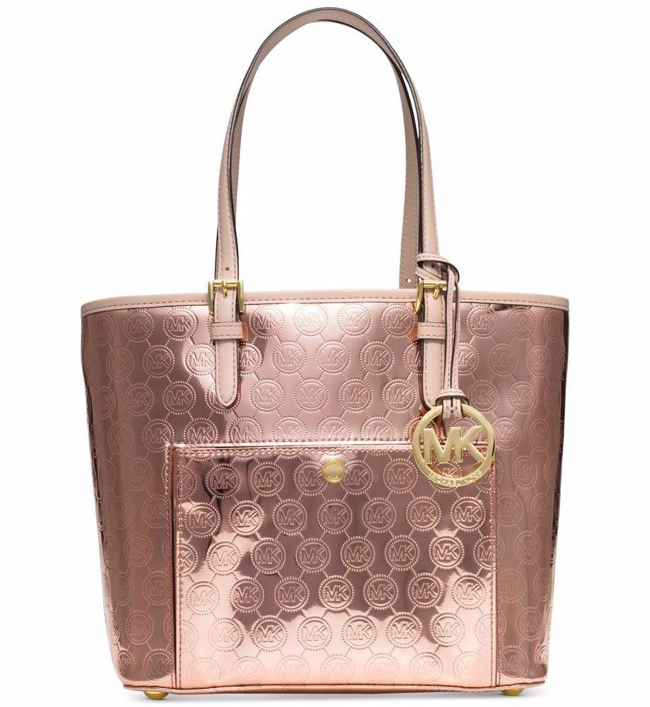 mk bags rose goldmichael kors jet set mk signature pvc medium snap pocket tote bag rose gold nwt