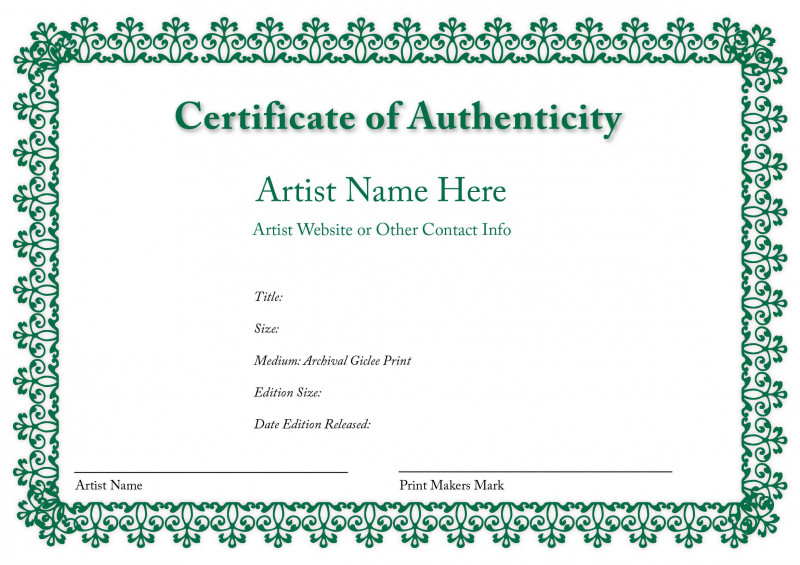 Photography Certificate Of Authenticity Template New Letter Of Authenticity Template Koman Mou Art Certificate Birth Certificate Template Certificate Templates