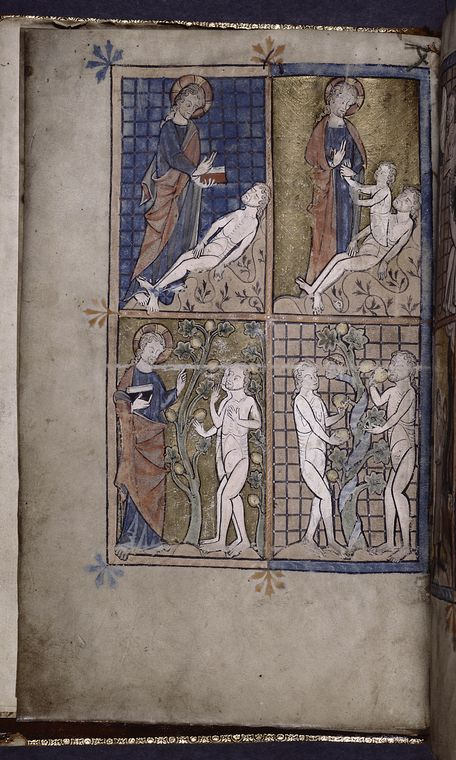 Full-page miniature with four scenes: Creation of Adam; Creation of Eve; God warning Adam and Eve; Adam and Eve eating ... (ca. 1320)