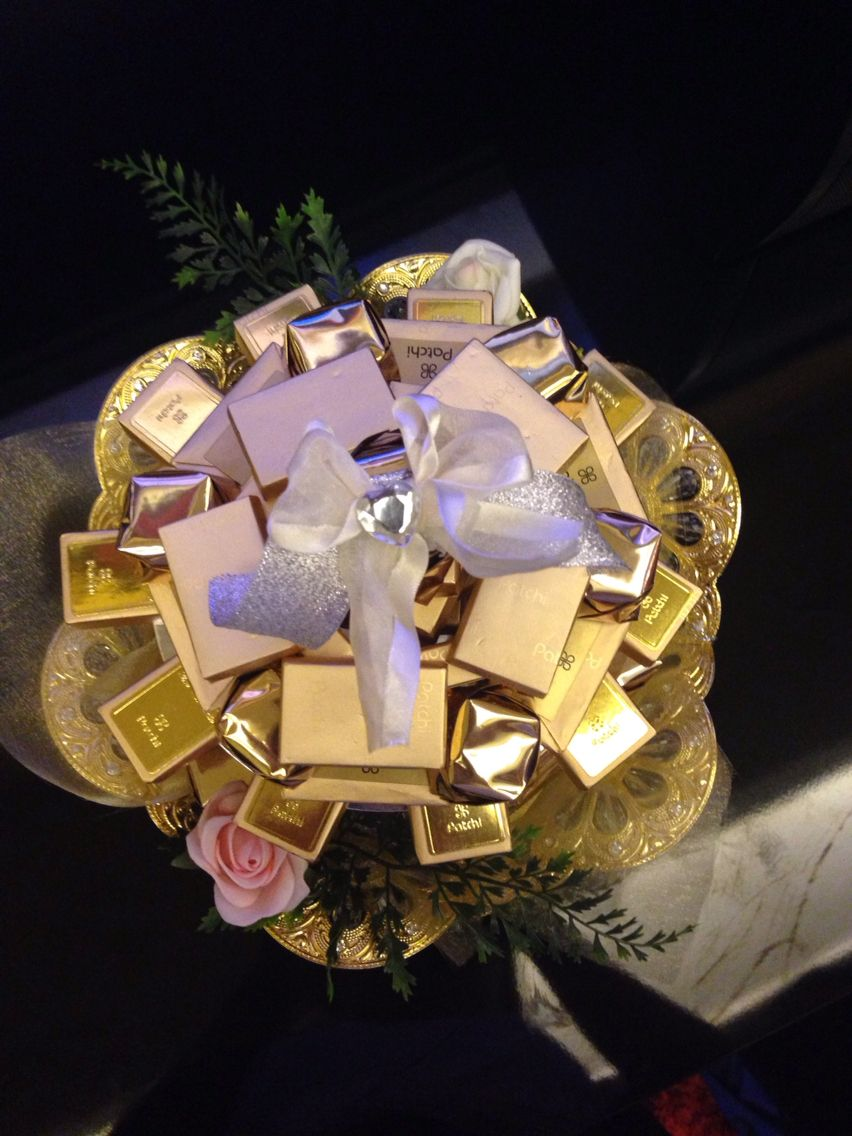 chocolate gift tray in gold