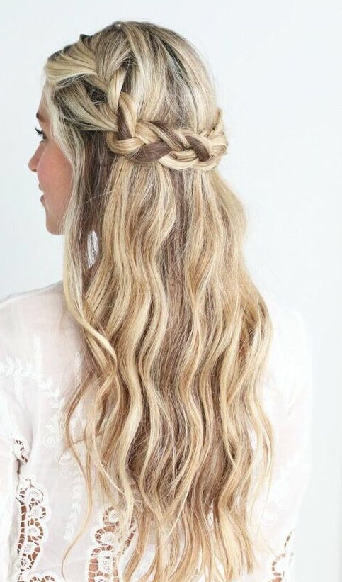 Pretty Half Up Crown Braid Braided Hairstyle Highlights Hair