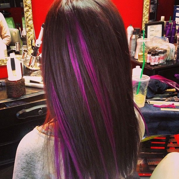 Different Ways To Dye Bleached Hair Purple Highlights Brunette