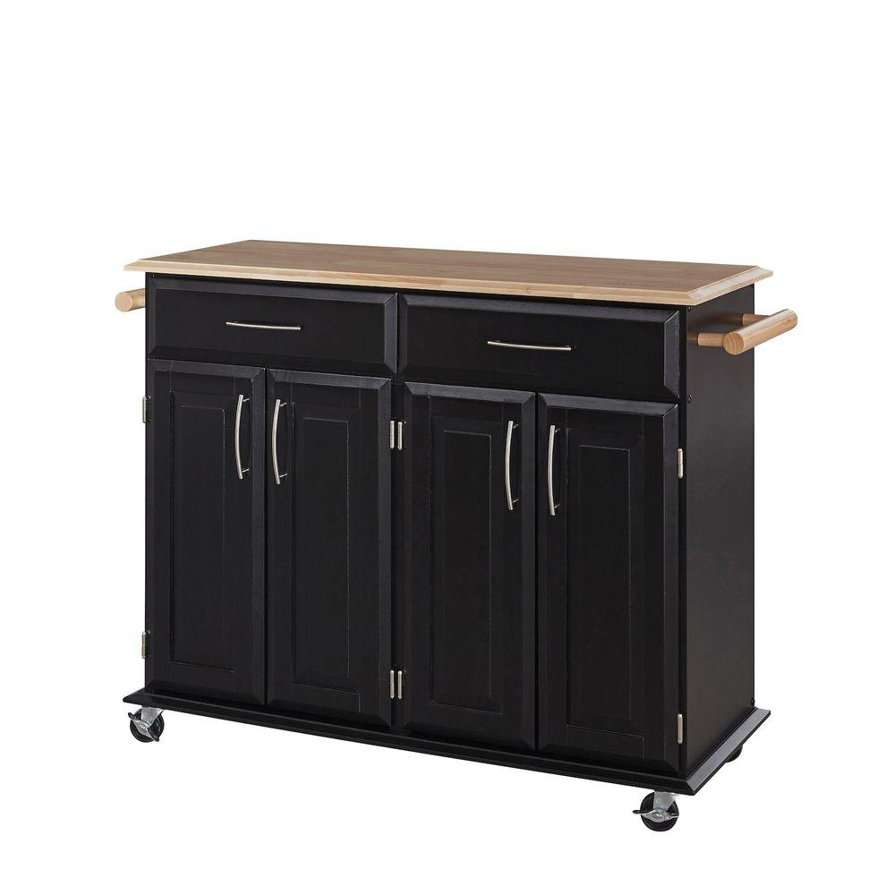 Home Styles Dolly Madison Black Kitchen Cart With Storage 20 20 ...