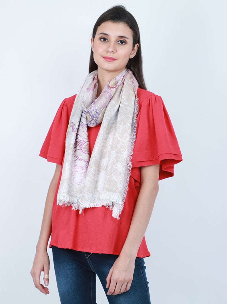 Ivory Women Scarf Accessory Scarves Indian Rayon Gift for