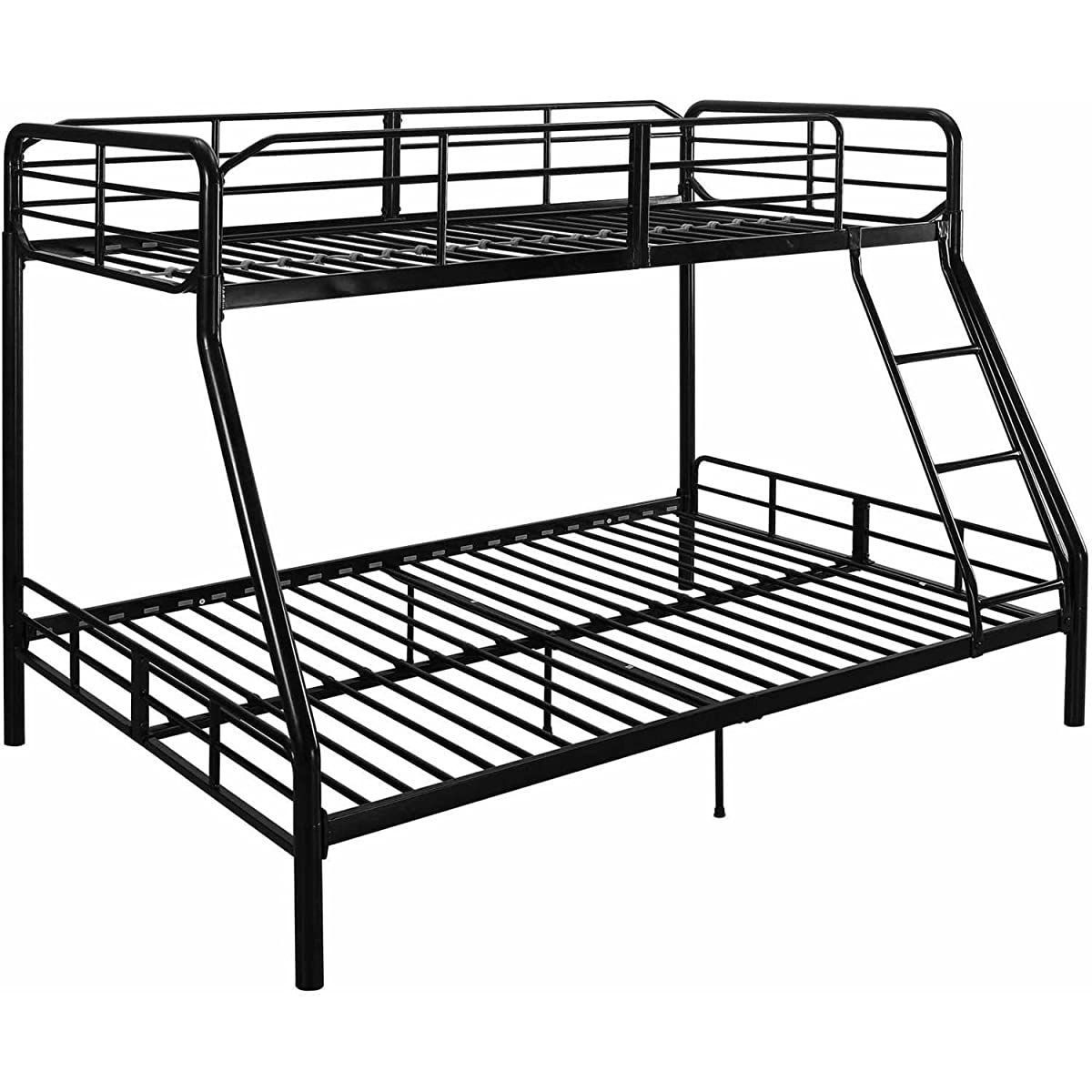 Twin Over Full Bunk Bed Kids Teens Bedroom Dorm Furniture Metal Beds Bunkbeds With Ladder Black By Mainstays Metal Bunk Beds Bunk Beds Twin Over Full Bunk Bed Metal frame bunk beds twin over full