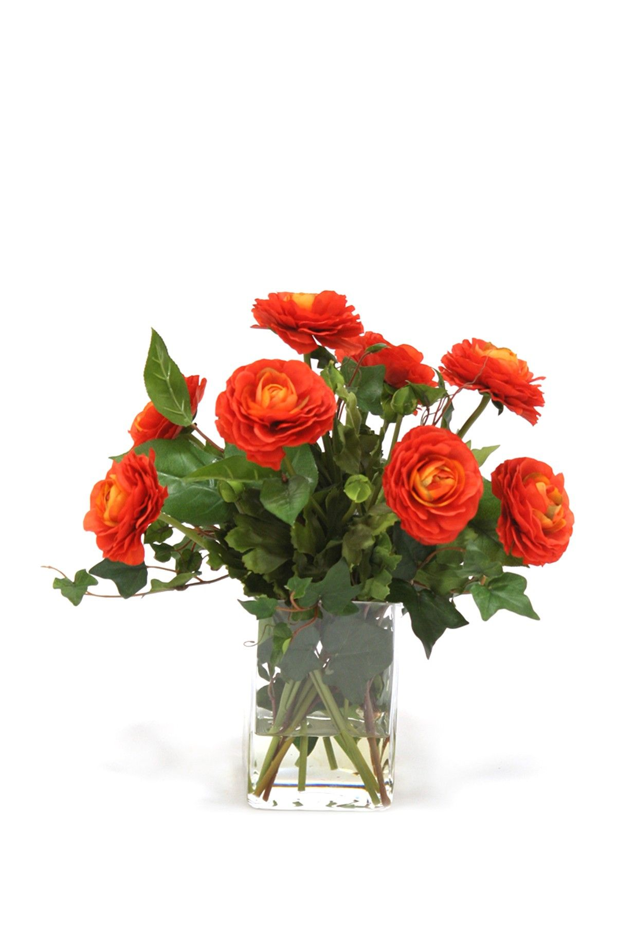 Dark Orange Ranunculus With Ivy Basil In Square Glass Faux Flower Arrangements Orange Ranunculus Faux Flowers