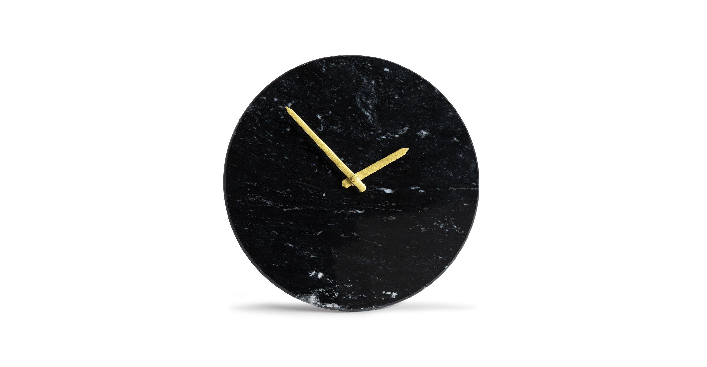 Maris Black Marble Clock Marble Clock Clock Elegant Stone