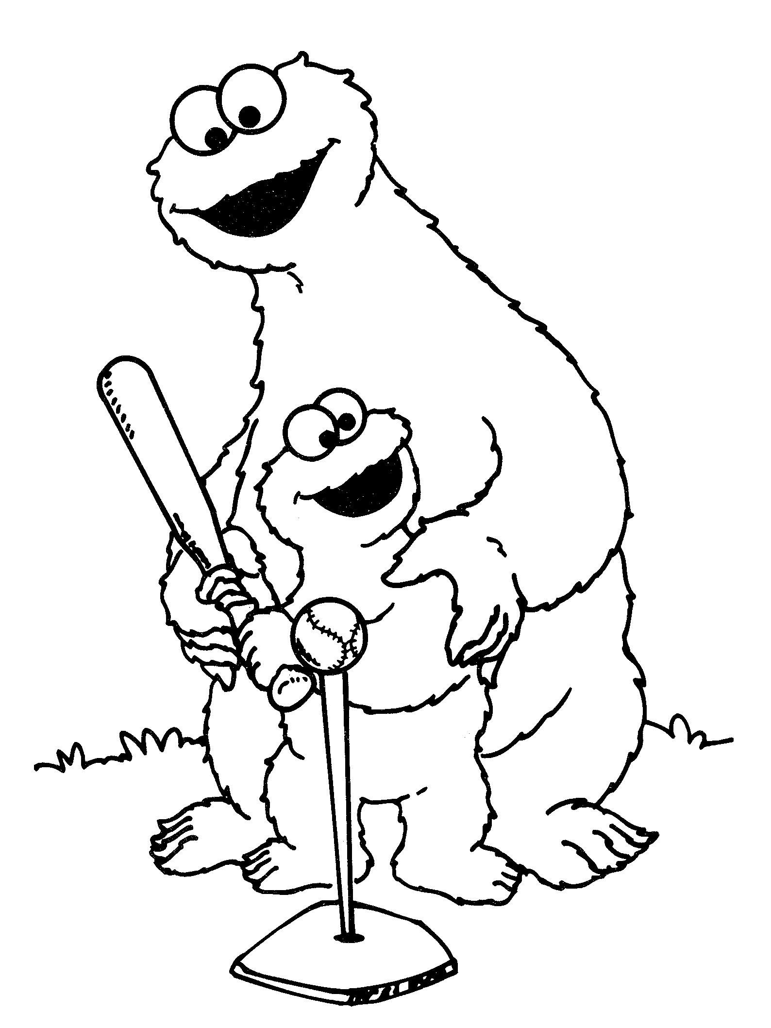 T ball coloring pages - Cookie Monster Tee Ball Coloring Pages
