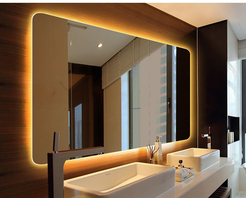 Hotel Style Frameless Bathroom Led Mirror Rectangular Shape With Round Corner Mirror Wall Bedroom Mirror Wall Bathroom Big Wall Mirrors