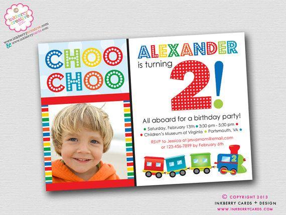 colorful choo choo train  birthday party invitation digital file, party invitations