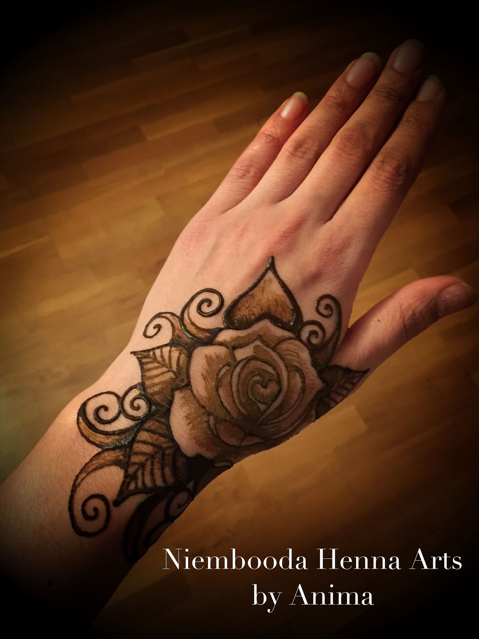 Realistic red Rose with Henna Tattoo, linework, color ... |Realistic Rose Tattoos Henna Designs