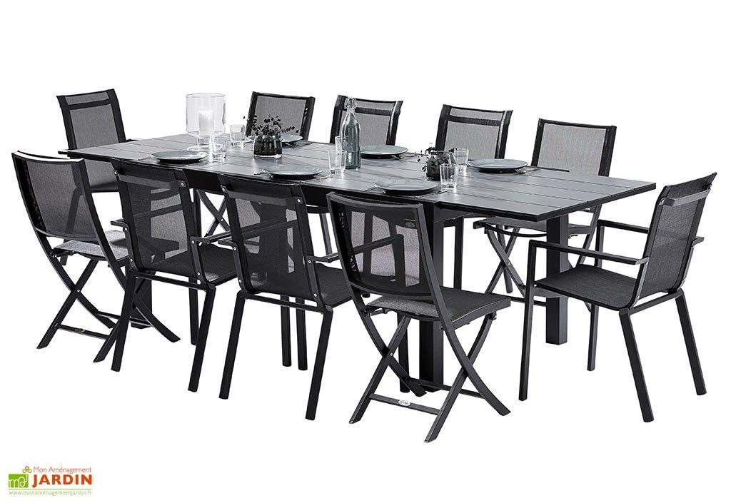 Salon de Jardin HPL : Table Extensible + 6 Fauteuils + 4 Chaises ...