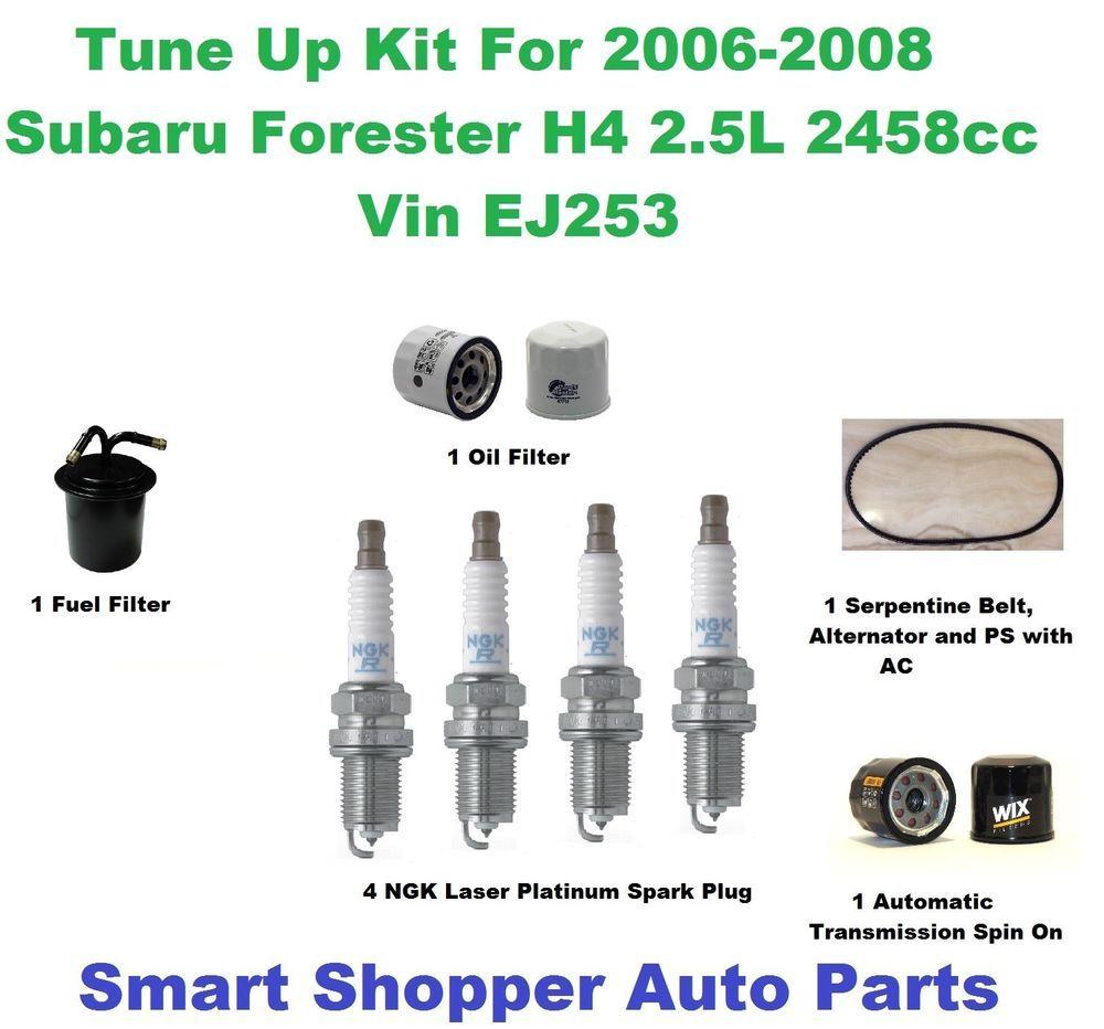 tune up kit 06 08 subaru forester 2 5l serpentine belt spark plug oil filter [ 1000 x 932 Pixel ]
