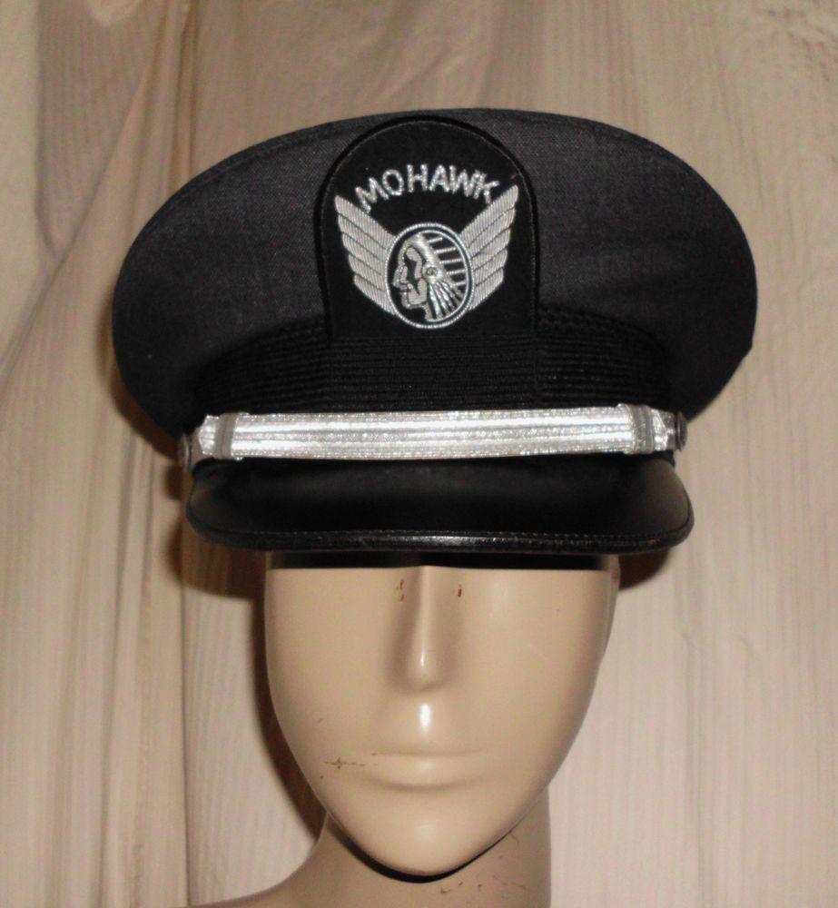 bee35b6eb6b32 AUTHENTIC VINTAGE MOHAWK AIRLINES PILOT HAT CAP Silver Bullion Badge Sz 7  1 4