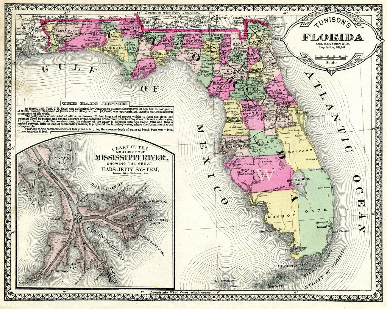 Map 0f Florida.Vintage Map Of Florida And Mississippi Delta From The 1890s Large
