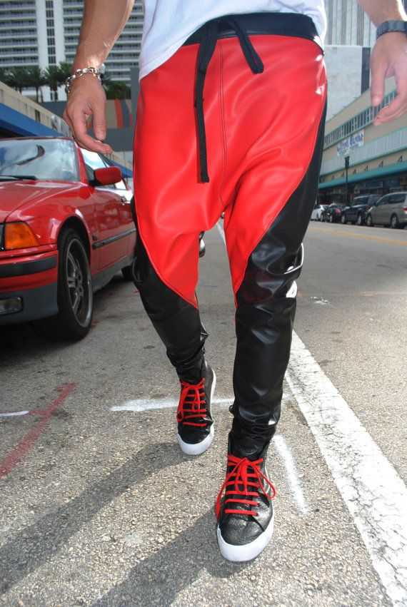 black and red leather drop crotch harem pants mens