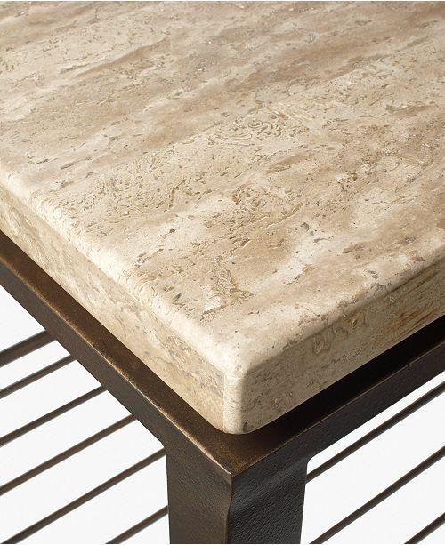 Tempo Travertine Top Rectangular Coffee Table Home Improvements