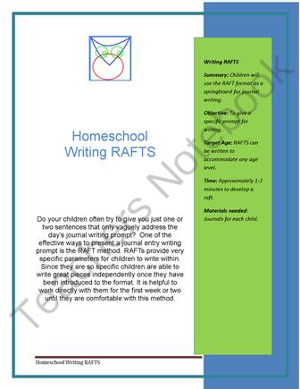Homeschool RAFT Journaling from Very Busy Teachers Shop on TeachersNotebook.com (4 pages)