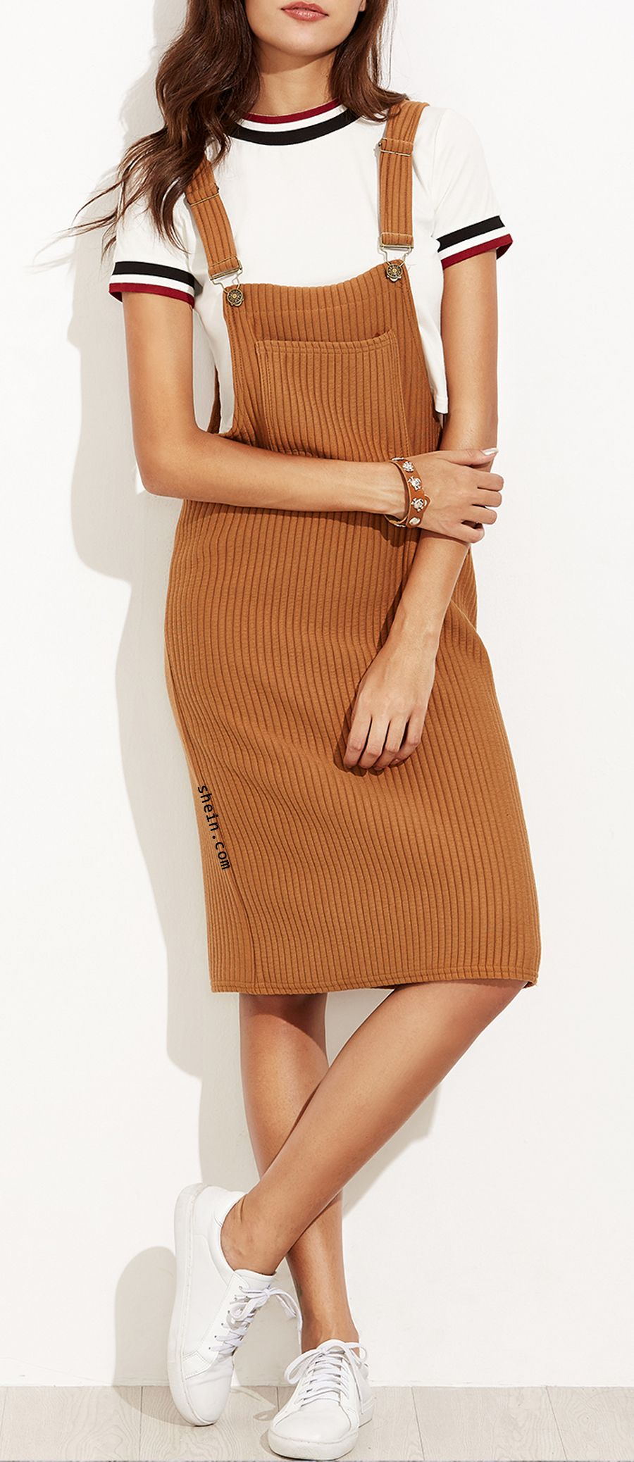 47249f237a1 Khaki Ribbed Overall Dress With Pockets | Love to Wear | Dresses ...