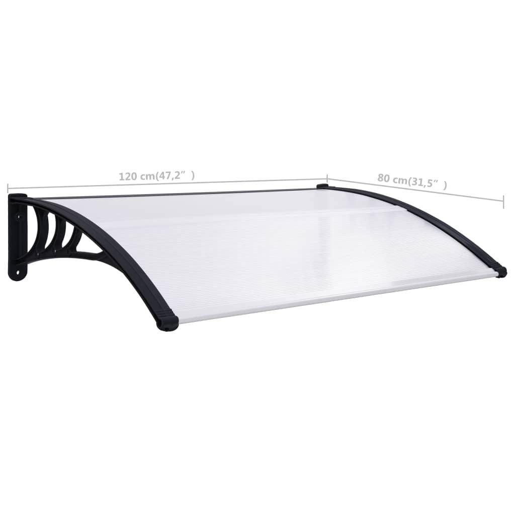 ZUN Door Canopy Black and Transparent 47.2″x31.5″ PC 144813