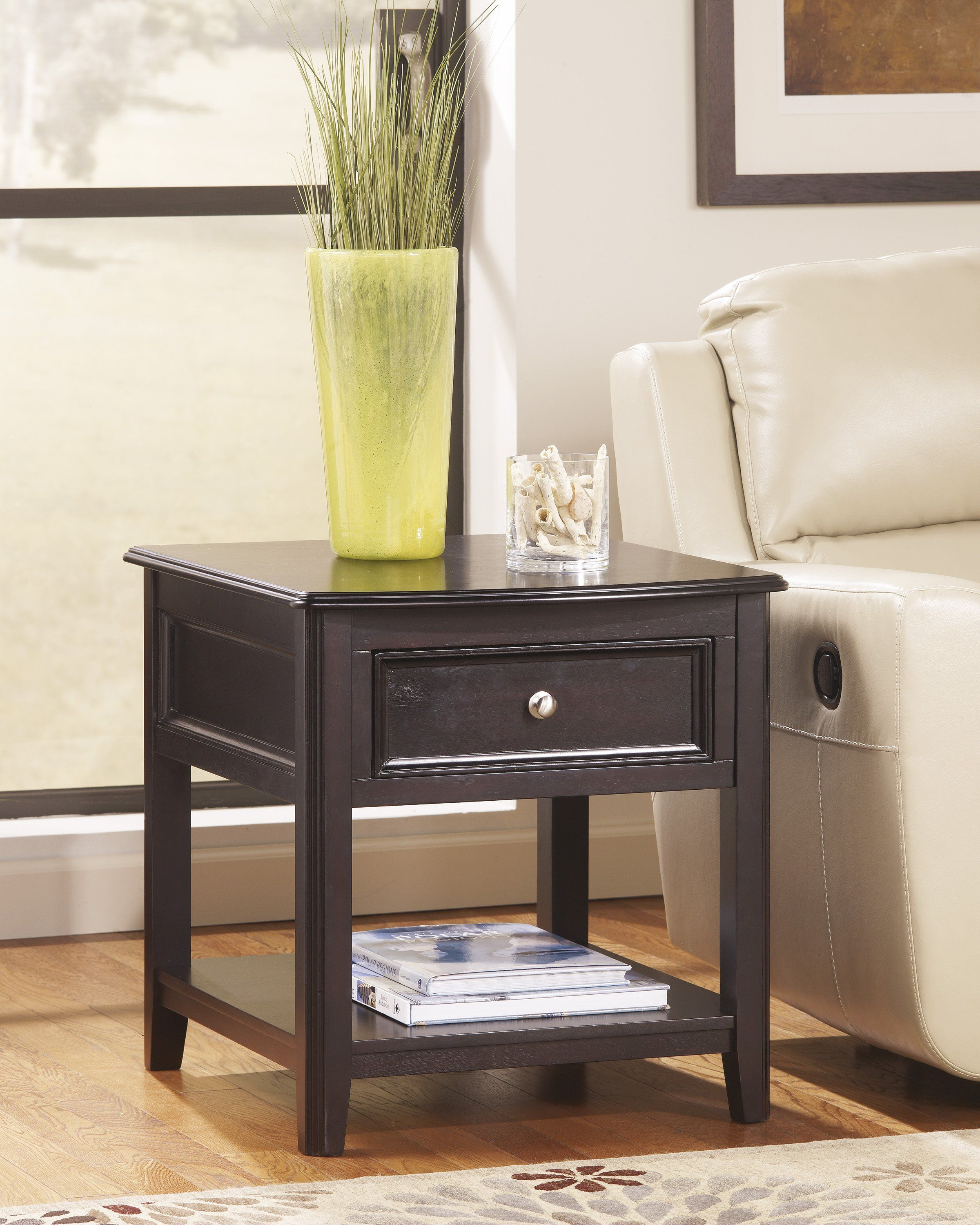 Ashley Carlyle Almost Black D Rectangular End Table End Tables