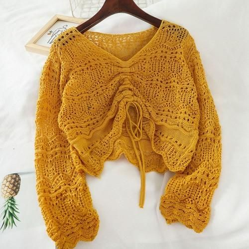 Comfy Tie Knit Sweater - Yellow / One Size