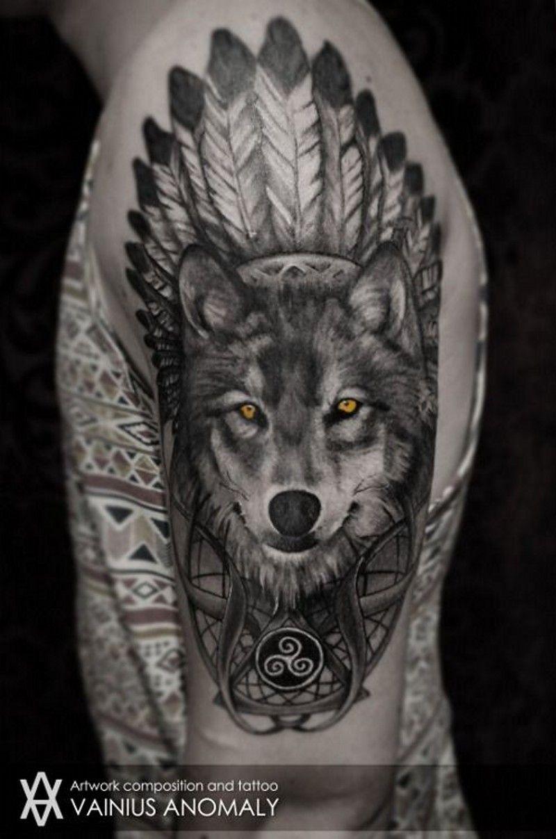 Native American Wolf Tattoo Designs