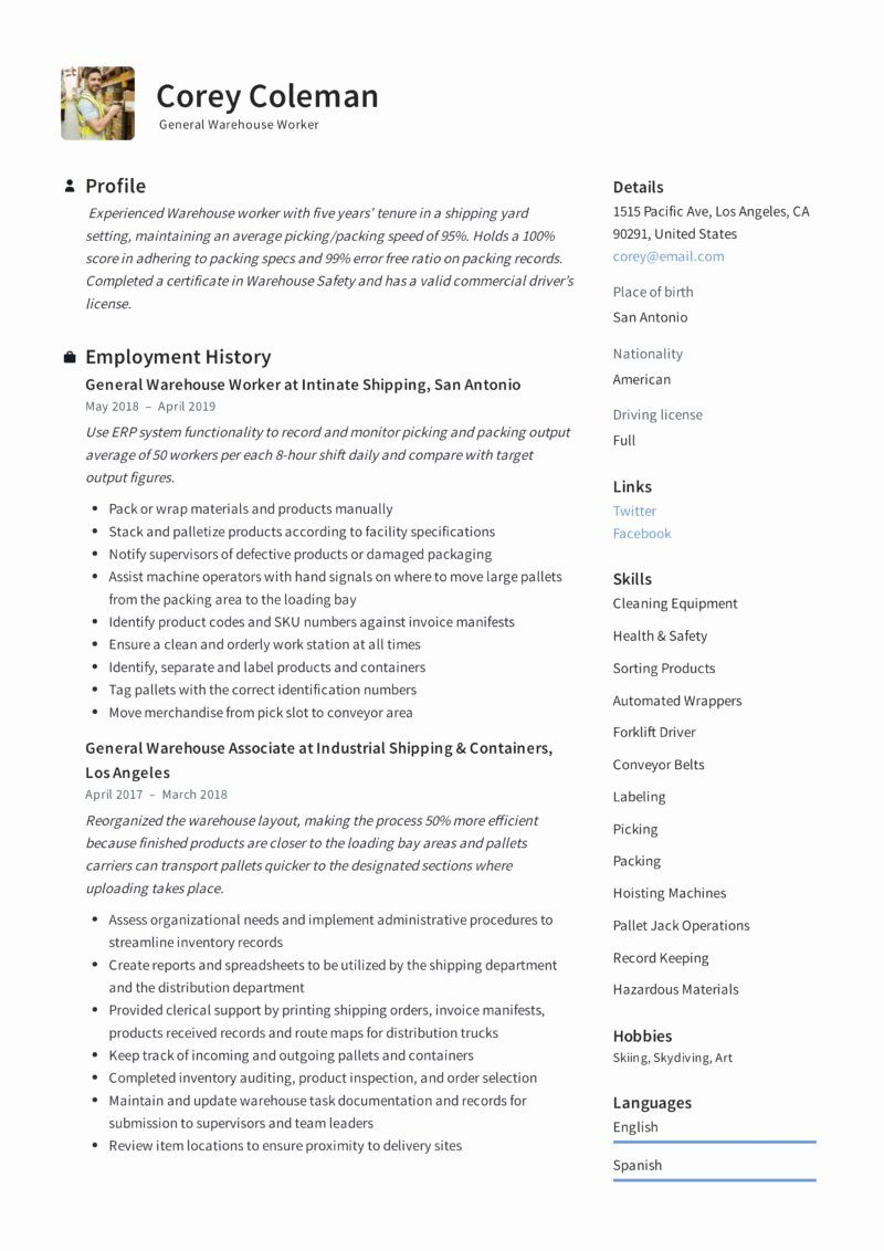 41++ Warehouse manager resume sample word Resume Examples