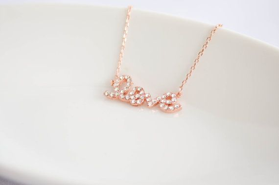 Love Necklace in Rose Gold / Pink Gold  Cubic Zirconia  by Juelu, $20.00