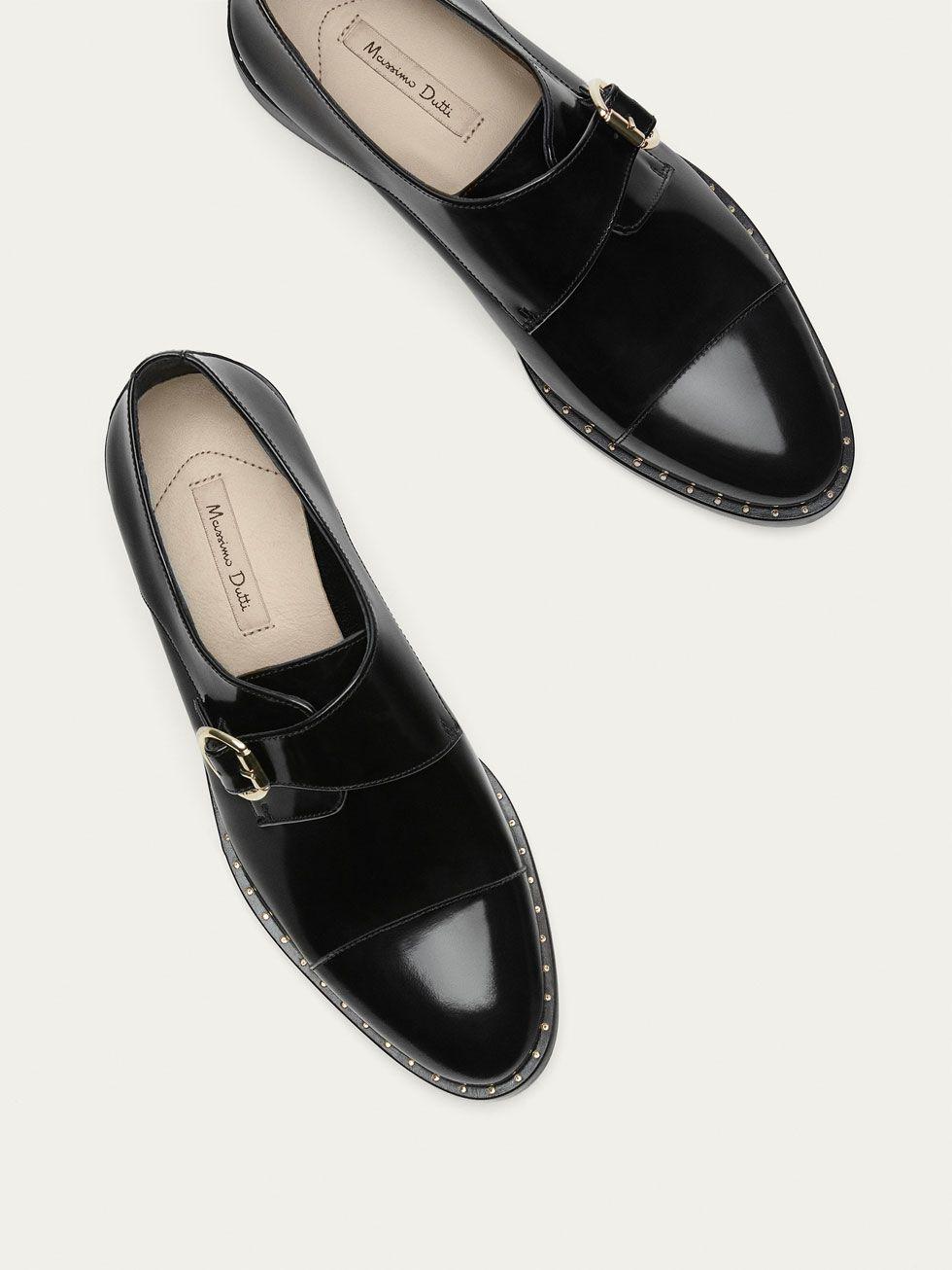 Spring Summer 2017 Women S Buckled Black Leather Shoes At Massimo Dutti For 32995 Effortless Elegance Schuhe Schwarzes Leder Schwarze Lederschuhe