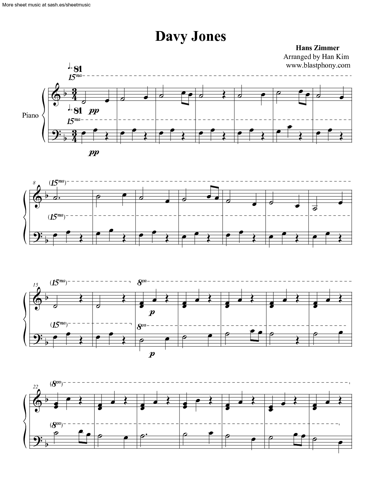 Pirates Of The Caribbean - Davy Jones sheet music