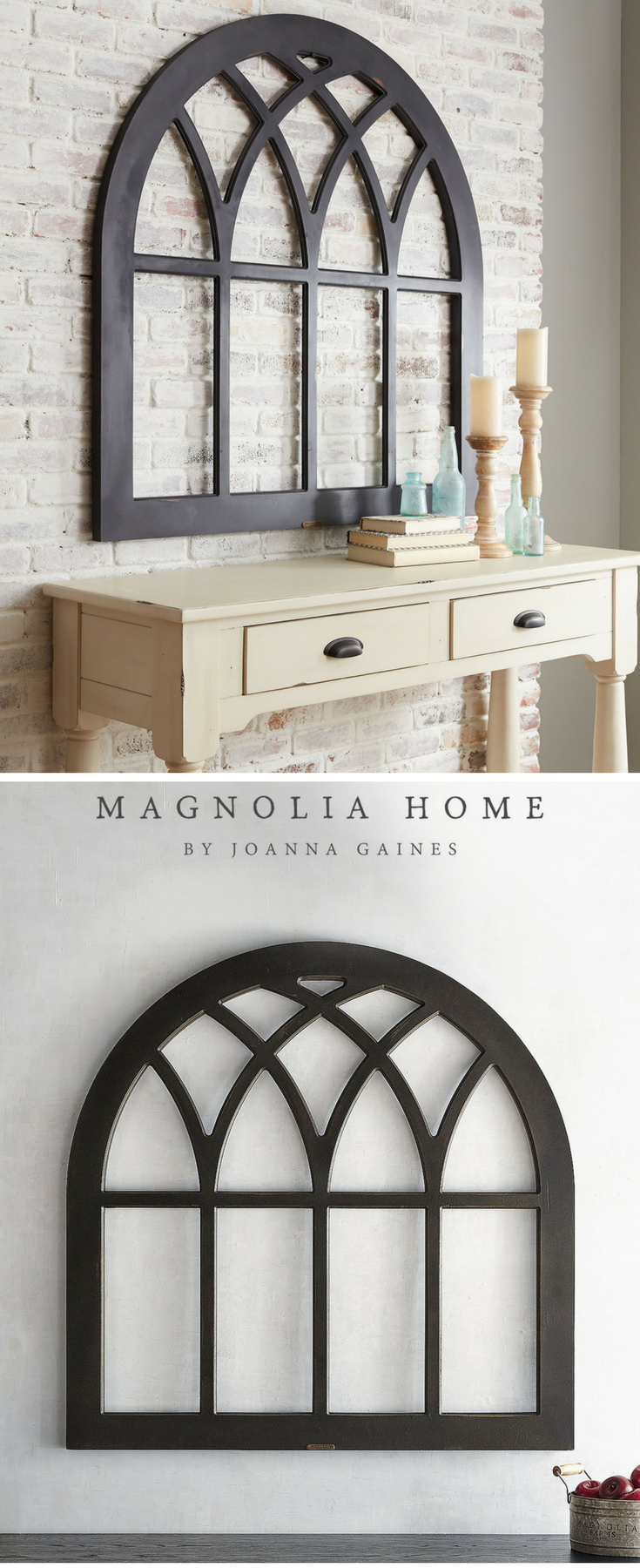 Magnolia home cathedral window frame wall decor farmhouse