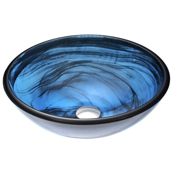 ANZZI Soave Sapphire Wisp Tempered Glass Round Vessel Bathroom Sink (Drain  Included) At Loweu0027s. The ANZZI Soave Series Sink Is A Traditionally Crafted  Round ...