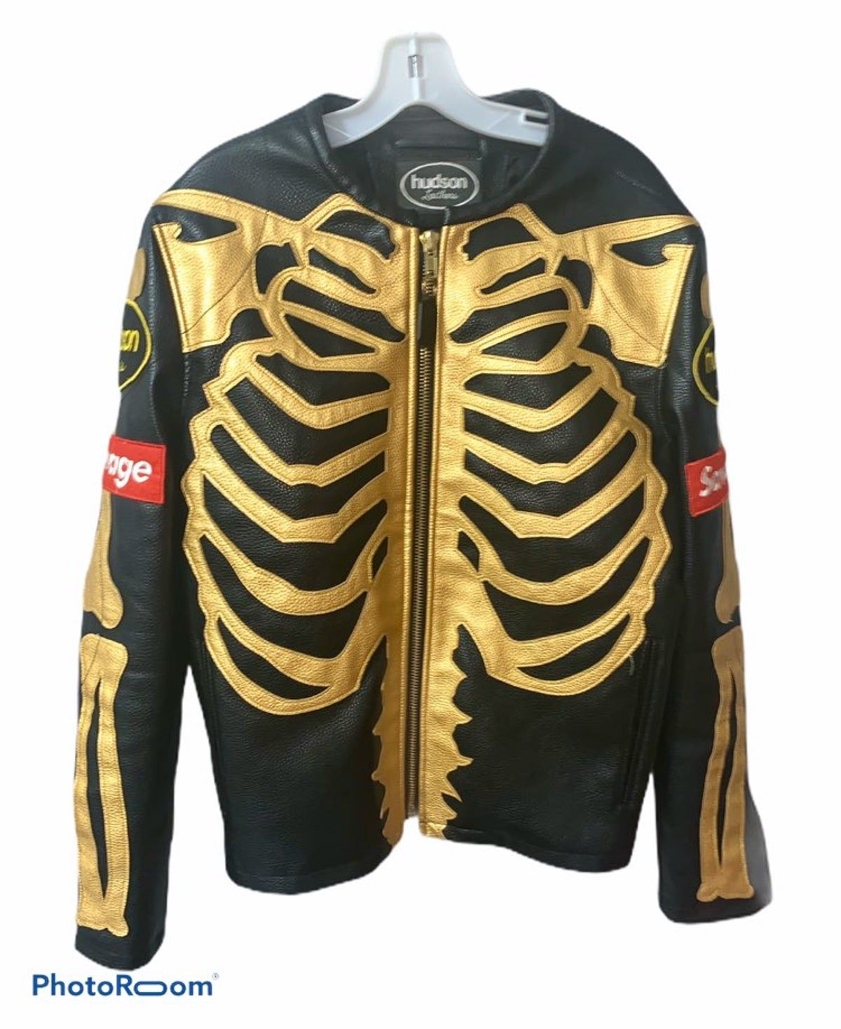 Hudson Faux Leather Skeleton Motorcycle Black And Gold Jacket Gold Jacket Faux Leather [ 1469 x 1200 Pixel ]