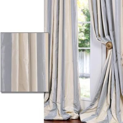 Baby Blue Tan Striped Faux Silk Taffeta 108 Inch Curtain Panel