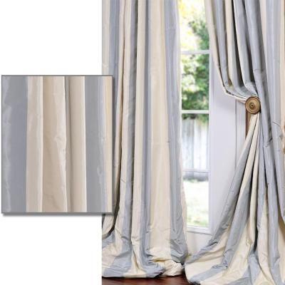 Baby Blue/ Tan Striped Faux Silk Taffeta 120 Inch Curtain Panel